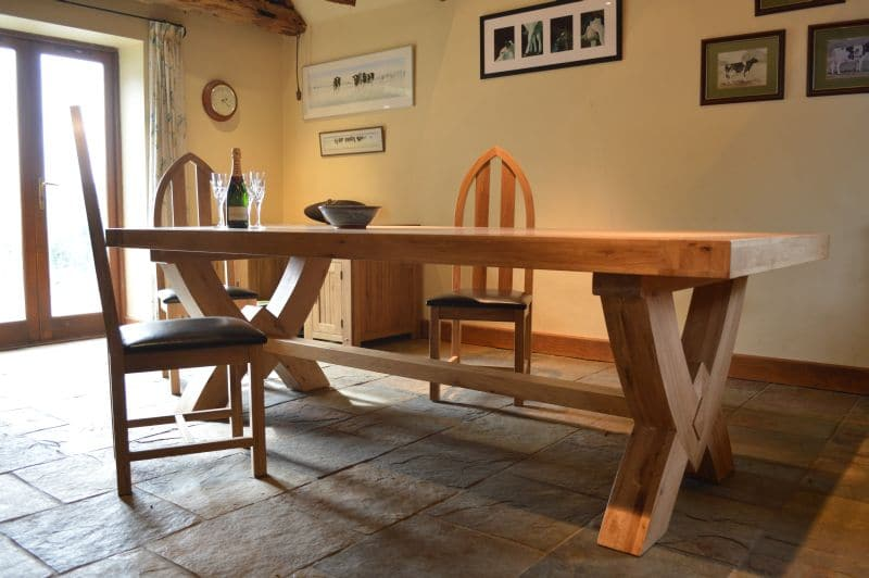 Fresno Solid Oak Throughout King Oxbow Dining Table - fr035