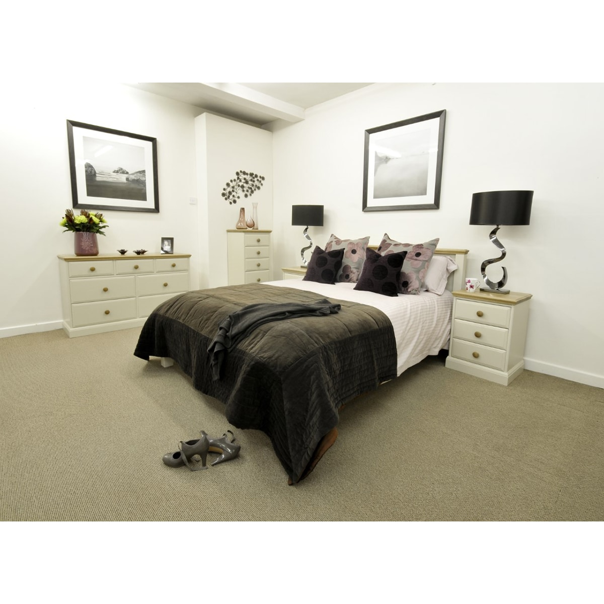 New england 4 6 double bed furniture and mirror for New england bedroom