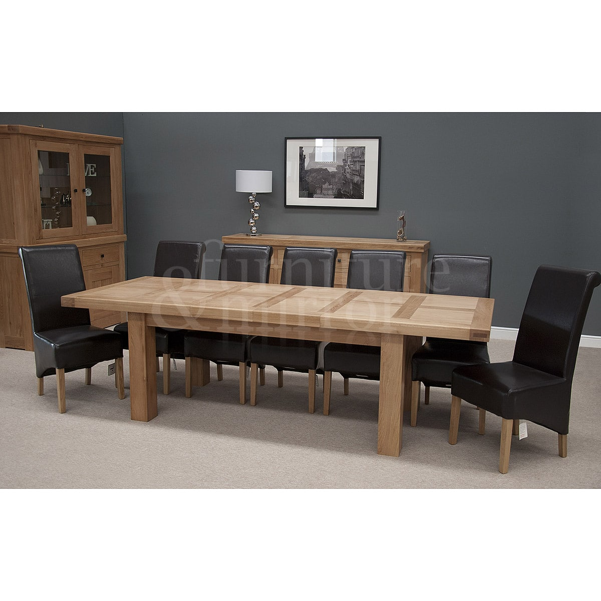 Chunky 12 seater dining table furniture and mirror for Dining room 12 seater table