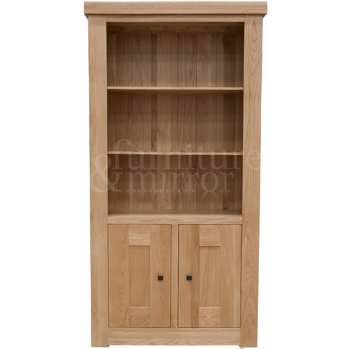 Chunky two door solid oak bookcase furniture and mirror for Solid oak doors