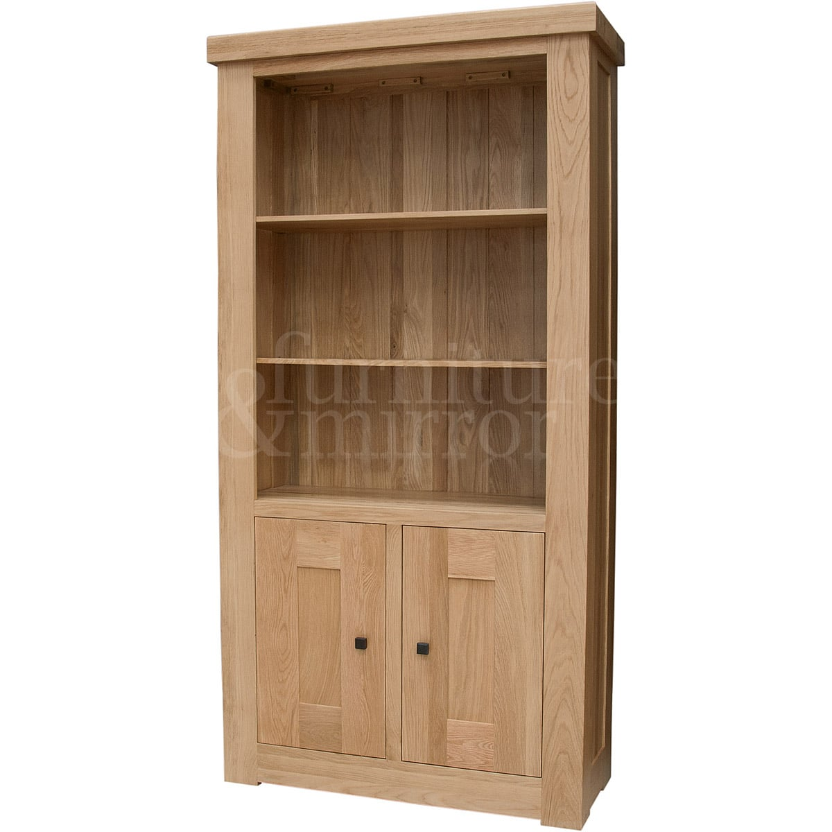 Chunky two door solid oak bookcase furniture and mirror