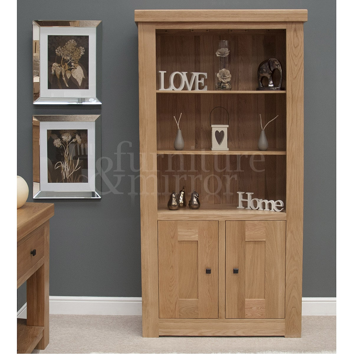 Chunky Two Door Solid Oak Bookcase Ex Display