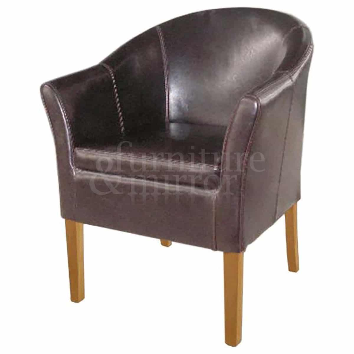 Brown Leather Tub Chair Furniture And Mirror