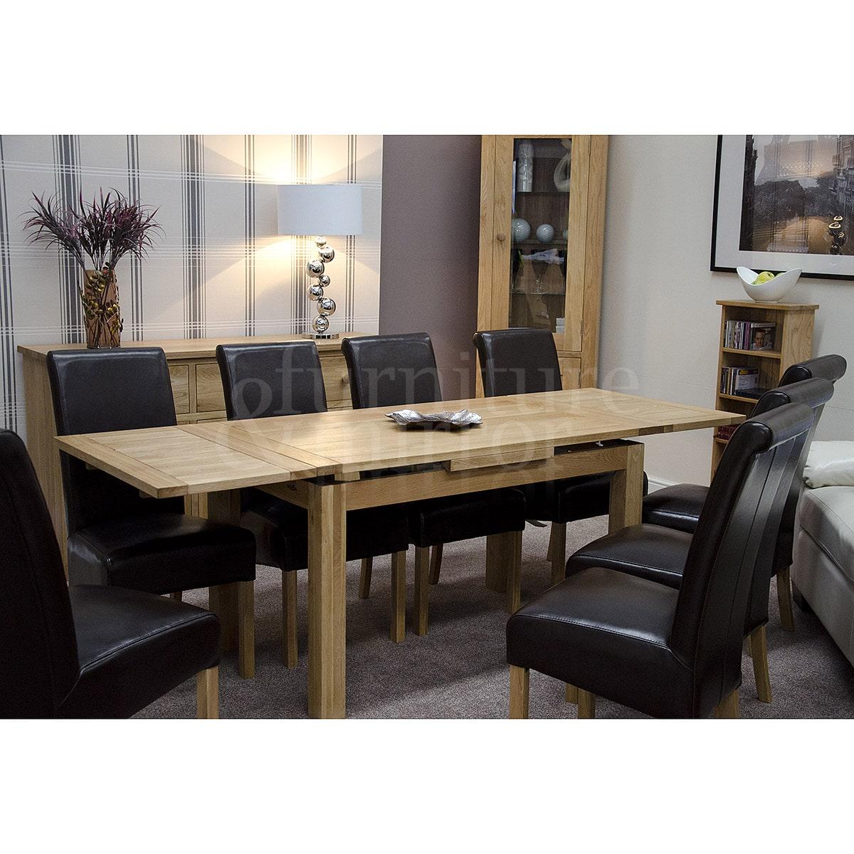 Oregon medium drawleaf dining table furniture and mirror