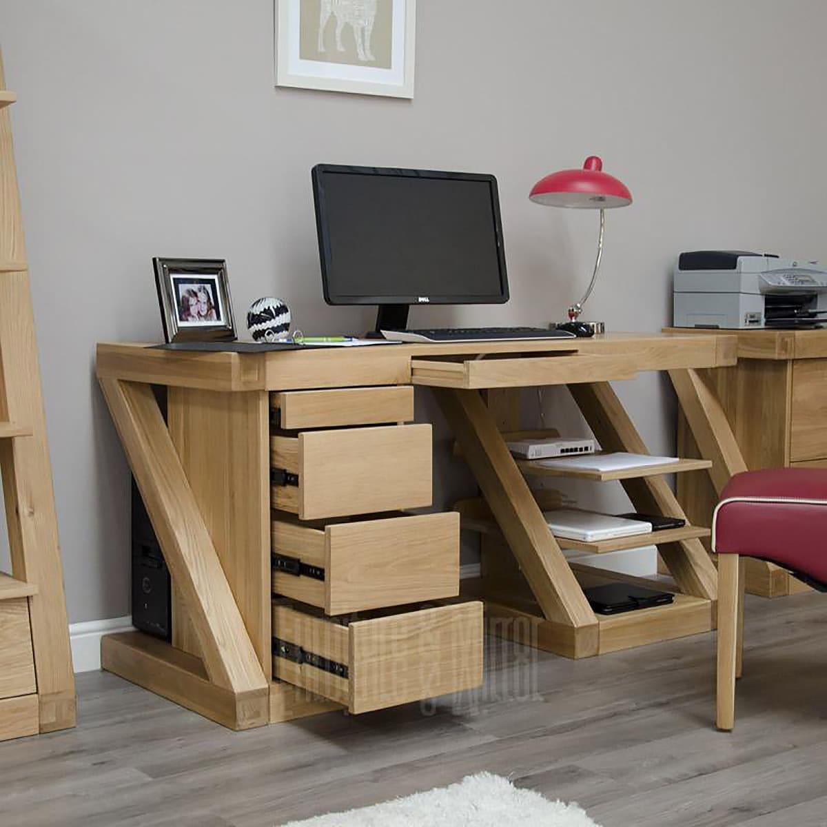 Dezigner large computer desk furniture and mirror for Furniture and mirror