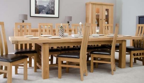 Chunky Solid Oak 14 Seater Dining Table