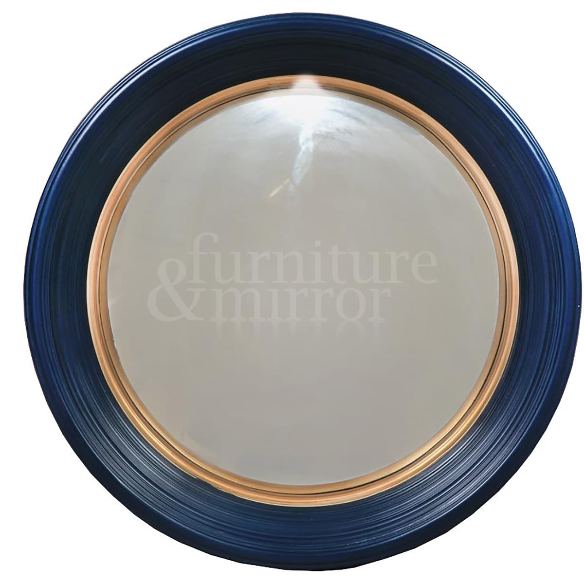 Medium deep blue framed convex mirror furniture and mirror for Miroir 90x60