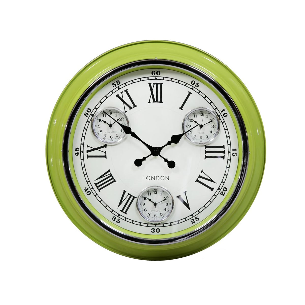 Retro Lime Green With White Face London Multi Dial Wall Clock
