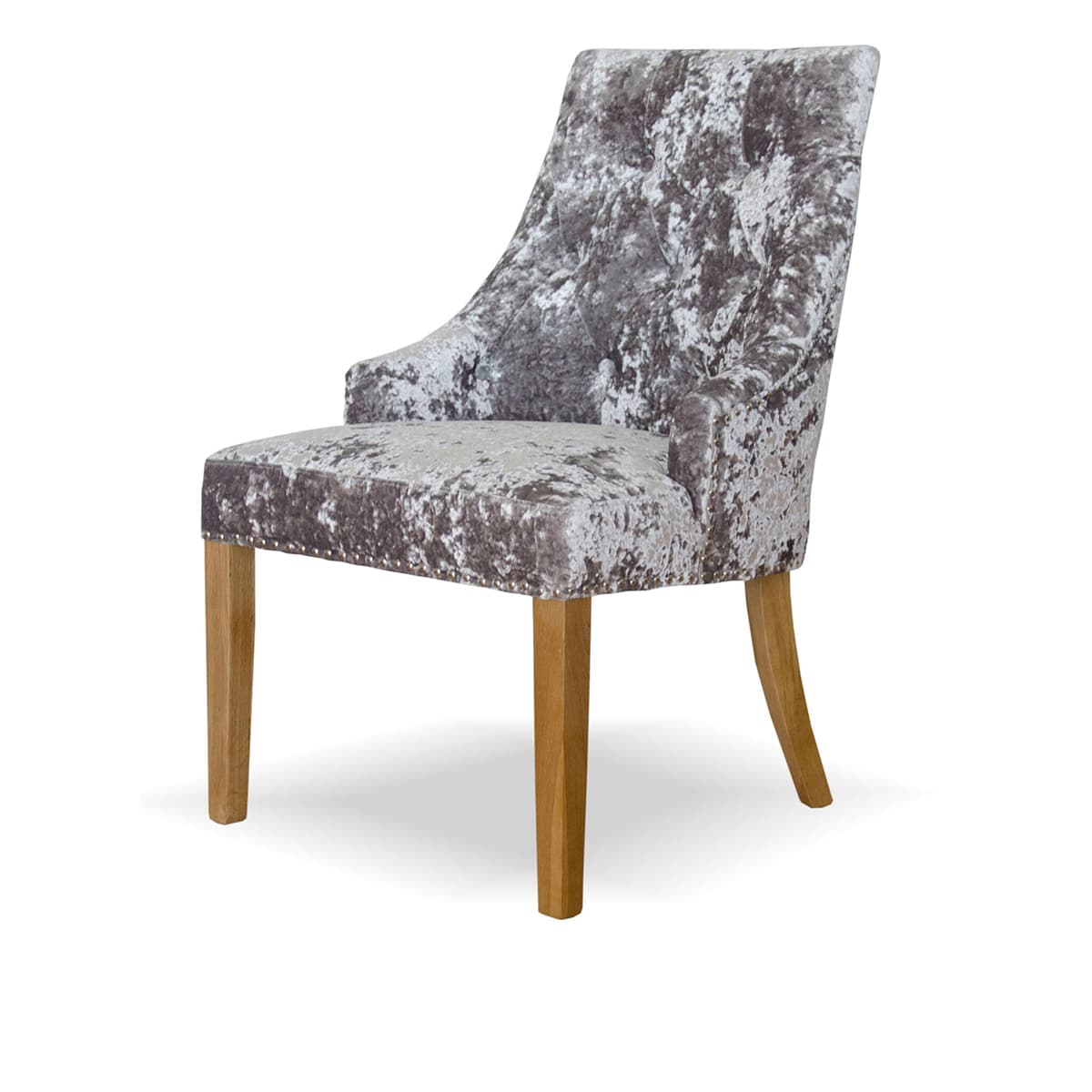 Willow Crushed Silver Velvet Dining Chair Furniture And