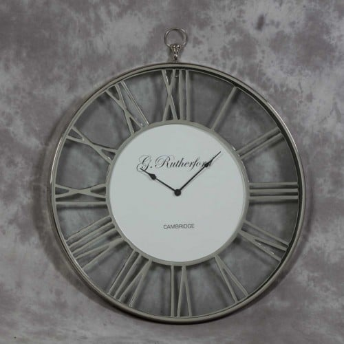 Nickel Skelton Glass Clock- IND5