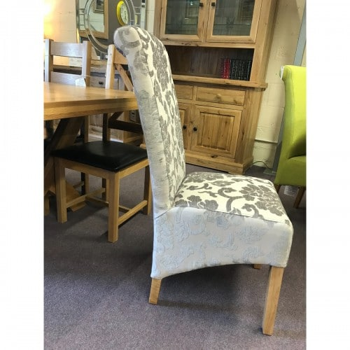 Baroque Mink Stripe Fabric Dining Chair - BARMINK