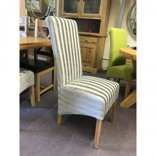 Mink Stripe Dining Chair- MINK