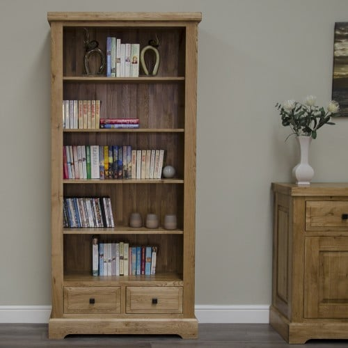 Wessex 100% Solid Oak Large Bookcase - WSXLBC