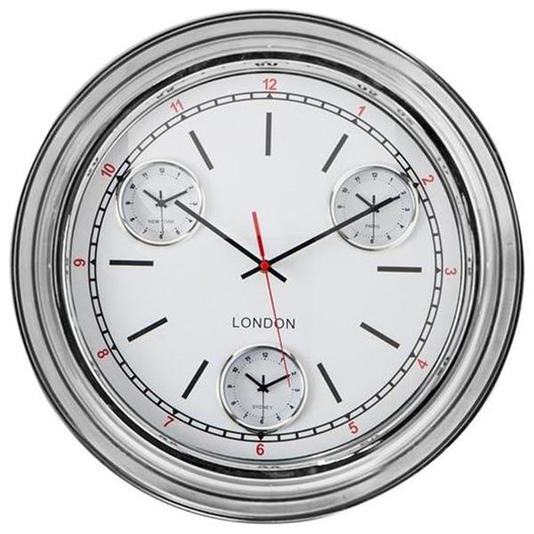 Chrome Multi Dial Wall Clock - ET69
