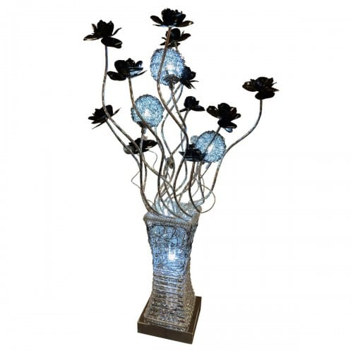 Silver & Black Floral LED Lamp - WLT2222/3