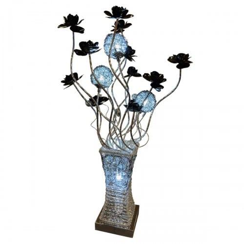 Silver & Black Floral LED Lamp - WLT2222/3
