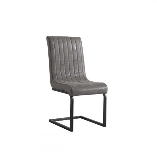 Bellary District Faux Grey Leather Chair- BDOSGA