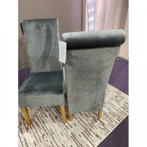 Brushed Velvet Grey Rollback Dining Chair - BRUSVGRY